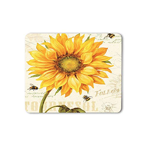 Moslion Sunflower Mouse Pad Bright Plant Nature Leaf Bees Floral Spring Gaming Mouse Mat Non-Slip Rubber Base Thick Mousepad for Laptop Computer PC 9.5x7.9 Inch