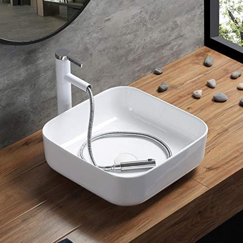 Hiwenr Zwarte badkamer-opzetwastafel met uittrekbare kraan. Moderne keramische wastafel. Vierkant bekken. Europees type home-bekken