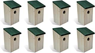 Festnight Pack of 8 Birdhouse Pine Wood Bird House with Good Ventilation Nest Holes Cozy Resting Wooden Cabin for Bluebird,Finch, Wren,Chickadee,Tree Swallow Bird,Wild Birds Outdoor Backyard Decor