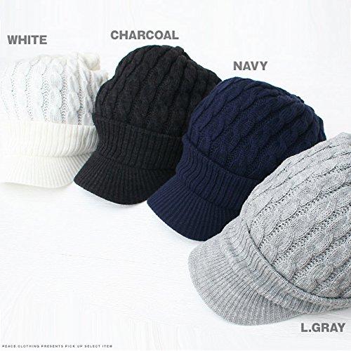 『cielhat(シエルハット) ツバ付き細ケーブルニット帽子ジープ 男女兼用 メンズ レディース ブラック×グレー』の3枚目の画像