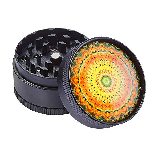 Grinder – 3 Pieces Zinc Alloy Pollen Rainbow Grinders Spice Grinder Colorful Metal Crusher with Magnetic top