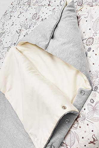 Wallaboo Schlafsack - Gesteppter Schlafsack - 100% Baumwolle - Druckknöpfe an der Seite - Kapuze für zusätzliche Wärme - Tog: 1,0 - 80 x 40 cm - 0 bis 9 Mon. - Farbe: Silber / Ecru