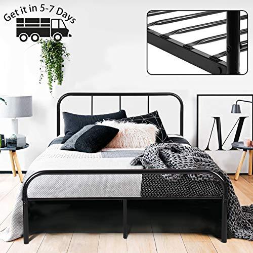 Coavas Cadre de lit Double en métal 142x198 cm Unisexe avec 10 Pieds en métal et Cadre de lit intégré - Noir