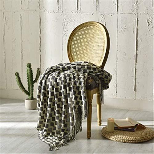 Dekorativ sofffilt Yellow Nordic Cotton Throw filt för soffan med tofsar Cover bärbara bil reseförsäkring Blanket inrednings För heminredning (Color : Black, Size : 120x200cm)