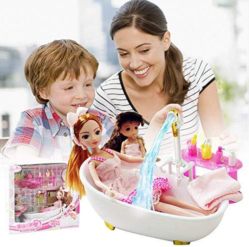 N/X Barbie Puppe,Bad Möbel Und Puppe Set Badezimmer Puppe Spielzeug Set Für Mädchen Kinder Geburtstag Geschenk