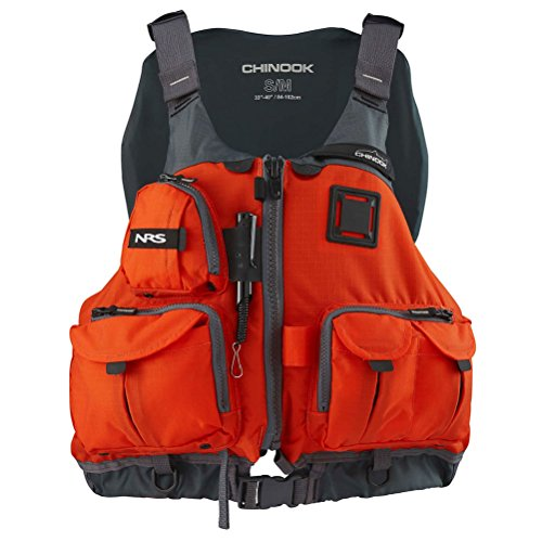 NRS Adult Chinook Fishing Boating PFD Small/Medium Safety Life Jacket, Orange