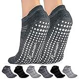 Grip Socks - S/M - (6-Pairs) - 2 Black, 2 Dark Gray, 2 Light Gray - Non Slip and Non Skid Hospital, Yoga, Barre, Pilates, Maternity, Ballet, Women & Men