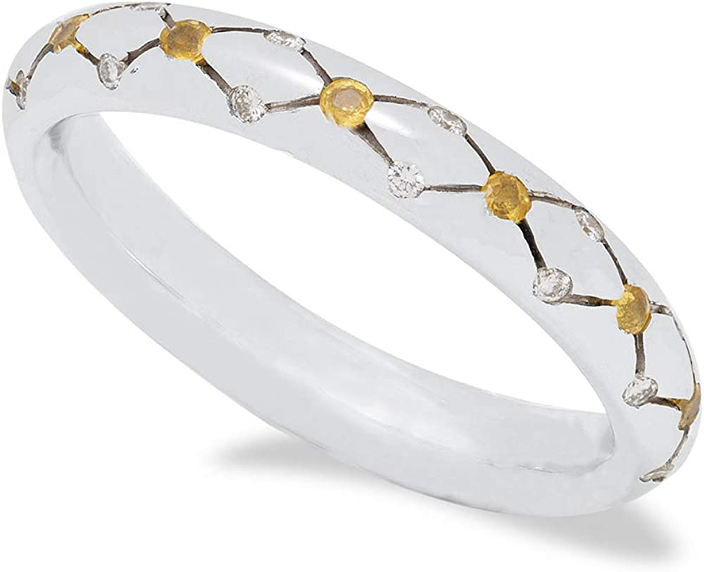 B.&c. gioielli anello donna fedina lavorata, in oro 18kt diamanti e zafiri gialli an01