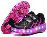 Zapatillas de Patinaje retráctiles con Ruedas Dobles para niños y niñas al Aire Libre, 7 Colores cambiantes LED Intermitentes Zapatillas de Gimnasia