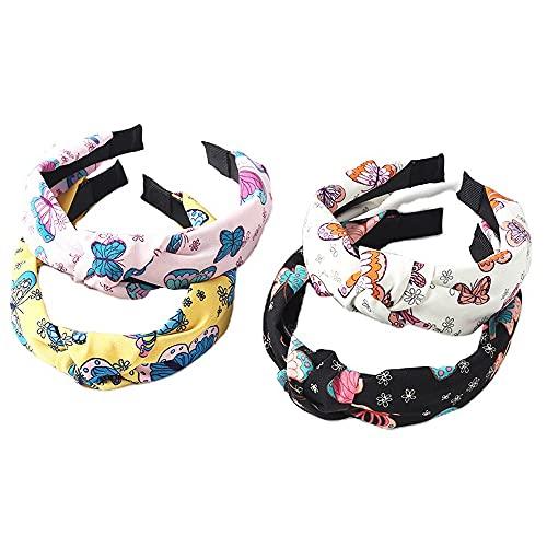 Diadema de flores para mujer, 4 paquetes de cinta de pelo de tela mixta para el pelo, bufanda de Alice Band Nudo, accesorios para el cabello (archButterfly)