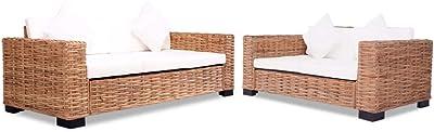 Furnituredeals Sofa de tela Sofa de dos plazas de ratan ...