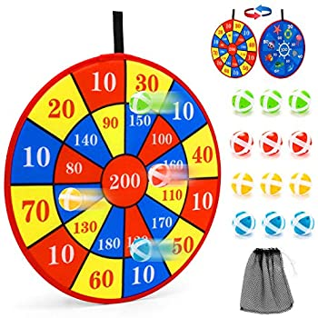 Dart Board Game for Kids with 12 Sticky Balls - 14 Inches Double Sided Safe Dart Game Excellent Indoor and Party Games Classic Toy Party Favor Great Gift for Boys Girls Ages 3-Year-Old and Up