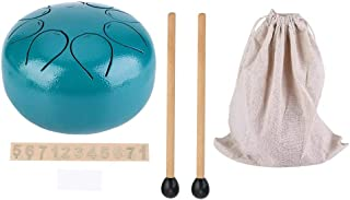 Steel Tongue Drum, 5 Inch Mini Stainless Steel Full Ethereal Sound Percussion Instrument Drumpan Hand Tankdrum Lotus Drum with Non-Slip Foot Pad, Hammers, Cloth Bag for Meditation, Yoga, Zen (Green)