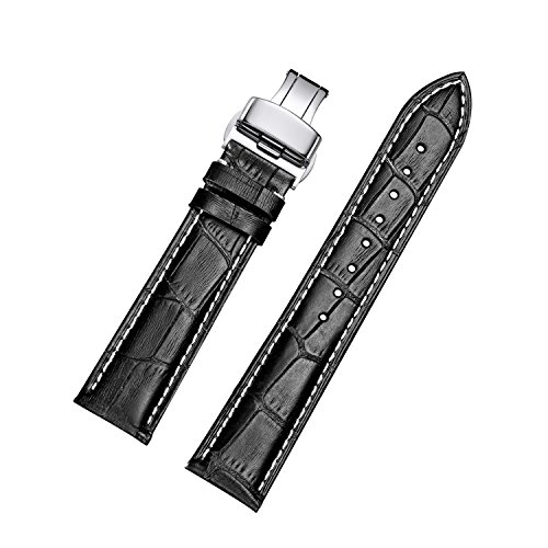 Sturdy Calfskin Replacement Leather Watch Bands with Deployment Buckle for Men's Wtach Band and Women's Watch Starp 18mm 19mm 20mm 21mm 22mm 23mm 24mm