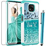 for Moto G Power 2021 Case (NOT for Moto G Power 2020) with Tempered Glass Screen Protector,Voanice Heavy Duty Shockproof Hybrid Women Girls Armor Protective Cover for Motorola Moto G Power 2021-Teal