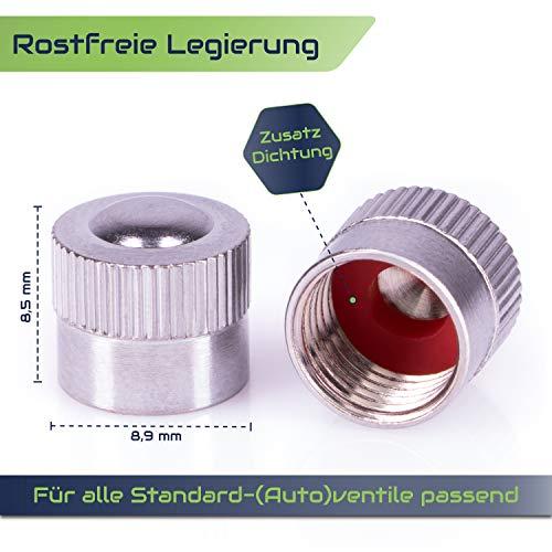 CAREApro ® Ventilkappen Auto Metall (16er Set) im Steel-Look inklusive Dichtung - Rostfrei - für VG8 Ventile Kfz - Fahrrad - LKW - Motorrad