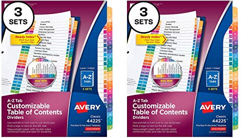 Avery A-Z Tab Dividers for 3 Ring Binders, Customizable Table of Contents, Multicolor Tabs, 3 Sets (44225) (Pack of 2)