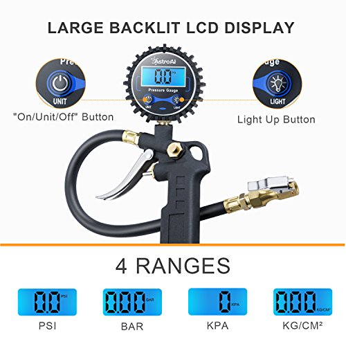 AstroAI Digital Tyre Inflator with Pressure Gauge, 0.1 Display Resolution 250 PSI Air Chuck and Compressor Accessories…