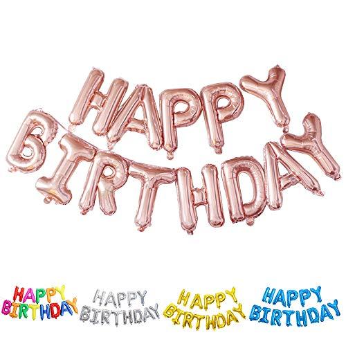 Ponmoo Ballon Happy Birthday Bannière Rose Gold/Banderole Joyeux Anniversaire Bleu/Banderole Happy Birthday Ballons Argent/Banniere Joyeux Anniversaire Noir Guirlande Happy Birthday Lettre Or