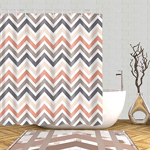 Shower Curtain Modern Chevron Geometric Zigzag Grey Brown Orange White