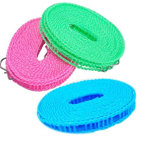 Rolin Roly 2 Pcs Portátil Tendedero de Viaje Ajustable Cortavientos para Interiores y Exteriores Clothes Drying Rope Color Aleatorio (2 Pcs)