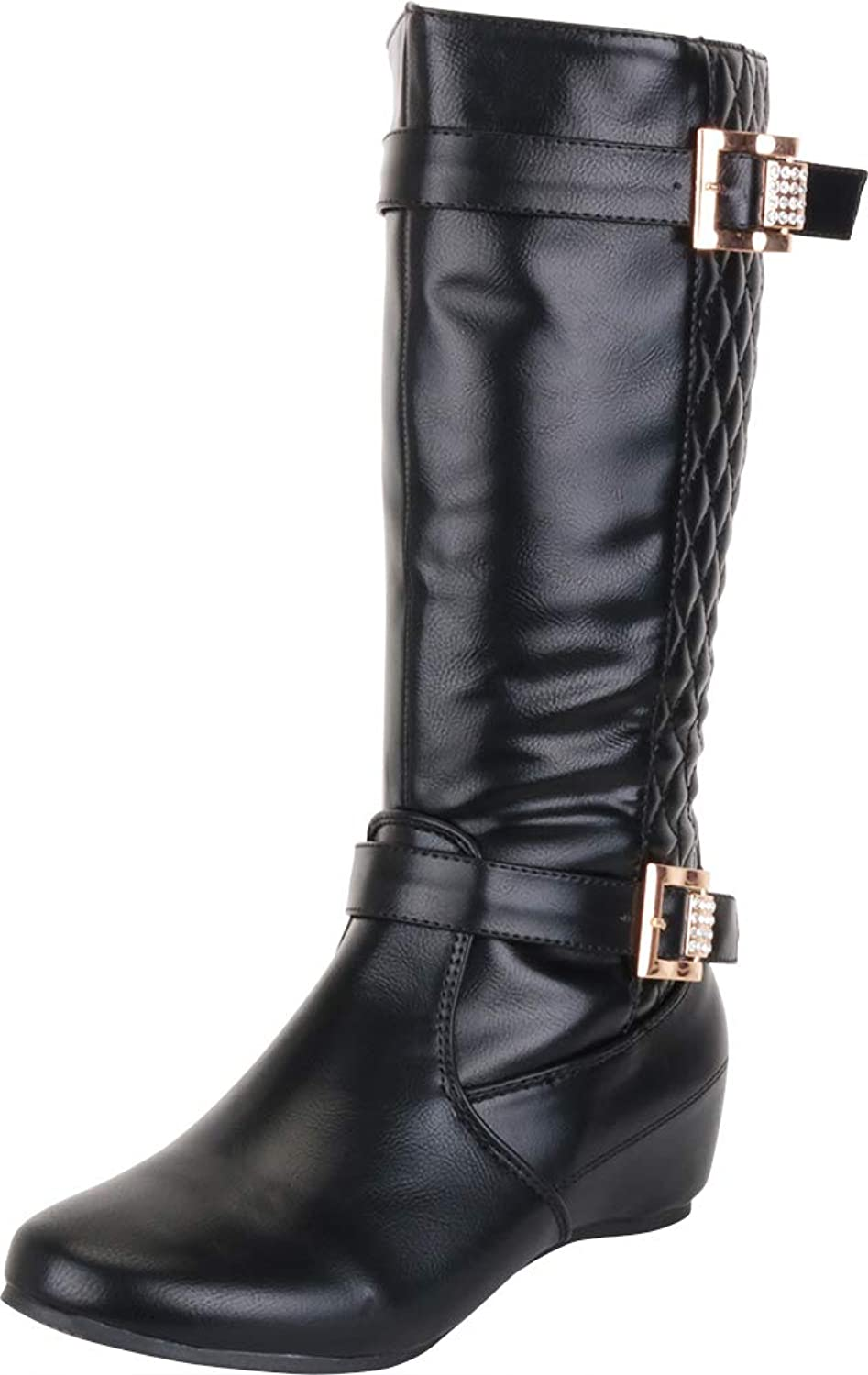 Cambridge Select Women's Quilted Crystal Rhinestone Buckle Hidden Wedge Mid-Calf Riding Boot