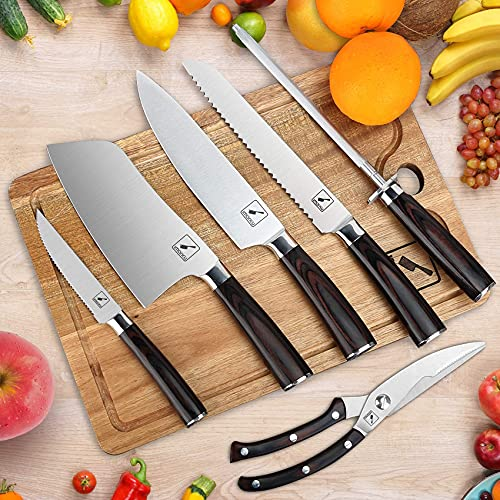 Japanese Knife Set, imarku 11-Piece Professional Kitchen Knife Set with Block, Stainless Steel Chef Knife Set with Wooden Cutting Board, Knife Sharpener