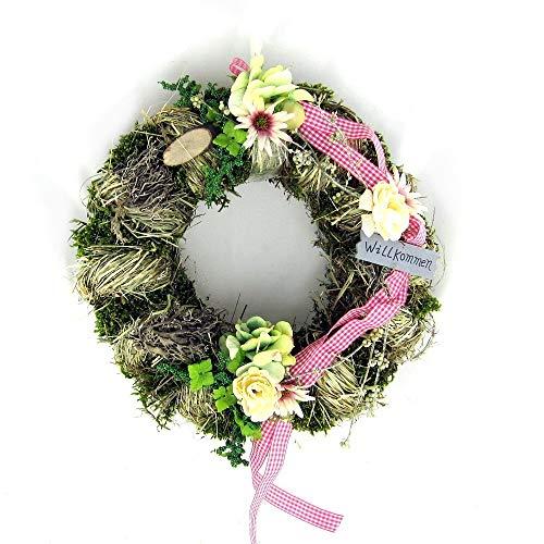 Small-Preis Türkranz Wandkranz Kranz mit pinken Bändern Ø 28 cm - Frühling - Sommer - Willkommensgruß 976
