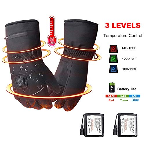 Luchuan Heated Gloves Rechargeable Lithium Battery Winter Gloves, Arthritis Hands Heated Gloves for Women Men (B)