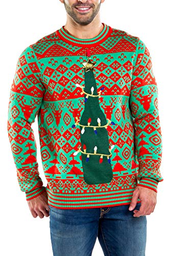 Tipsy Elves Men's Ugly Christmas Sweater with Attached Bottle Opener for Beverages Holiday Pullover Size: X-Large