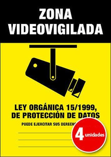 Pegatina Cartel Alarma ZONA VIDEOVIGILADA Disuasorio Aviso 15/1999 - Pack de 4 unidades A6