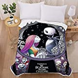 DIYHMH Nightmare Before Christmas Blanket Fuzzy Fluffy Plush Micro Soft Flannel Jack Sally Bed Throw Blanket Jack Skellington Merchandise Fabulous Bedding Gifts 60x50 inch