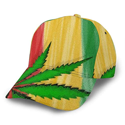 HARLEY BURTON Unisex Gorra de béisbol impresa entera marihuana rojo verde amarillo ajustable empalme Hip Hop Cap Sun Hat