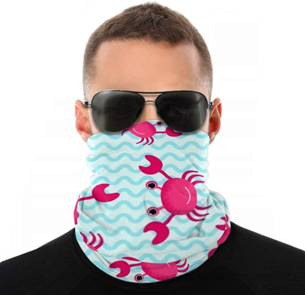 Headbands For Men Women Neck Gaiter, Face Mask, Headband, Scarf Cartoon Crab Background On Sea Wave Turban Multi Scarf Double Sided Print Head Wrap For Sport Outdoor