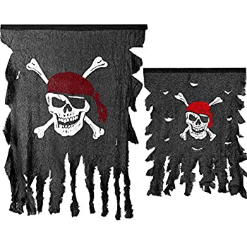 2 Pieces Weathered Pirate Flags Linen Party Pirate Flag Tattered Pirate Flag Red Bandana Skull and Crossed Bone Hanging Flag for Pirate Party Halloween Decorations