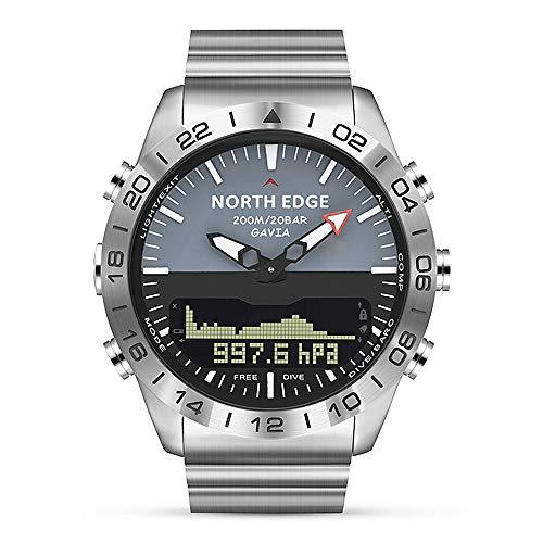 Walory Reloj Analógico Digital - Reloj Deportivo de Buceo para Hombre Reloj de Pulsera de Negocios de Acero Completo Altímetro Brújula 100 M Impermeable
