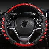 Qind1aS cubierta del volante 38CM 15'' trenza en el volante coche estilo universal fibra de carbono cubierta del volante (D)