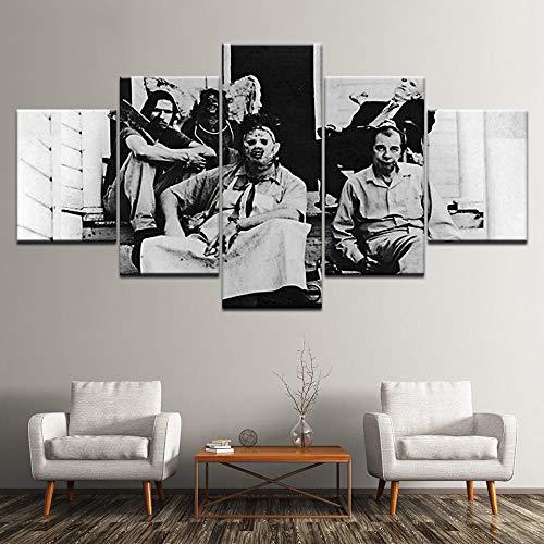 yuanjun Puzzle 5 TLG Kunstdruck Modern Wandbilder Design Tapete Eingerahmt Bilder Drucke Leinwand Wandkunst Wohnkultur Gem?Lde Poster Mehrteilig XXL Das Texas Chainsaw Massacre Poster