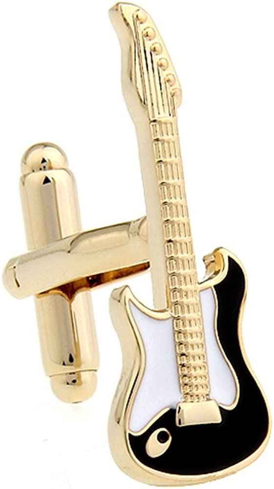 Musical Instruments Guitar Electric Guitar White Color Black Enamel Gold Plated Cufflinks