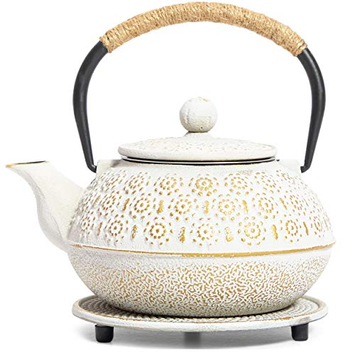 White Cast Iron Japanese Teapot with Handle, Infuser, and Trivet (800 ml, 27 oz)