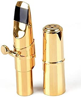 Sax Mouthpiece, Aibay #6 Gold Plated Bb Soprano Saxophone Metal Mouthpiece + Cap + Ligature