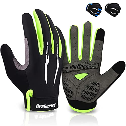 Grebarley Fahrradhandschuhe MTB Handschuhe Mountainbike Handschuhe mit Touchscreen Finger fürs Radsport Road Race Downhill Wandern fahrradhandschuhe Männer und Frauen (Aktualisierte Version Grün, L)