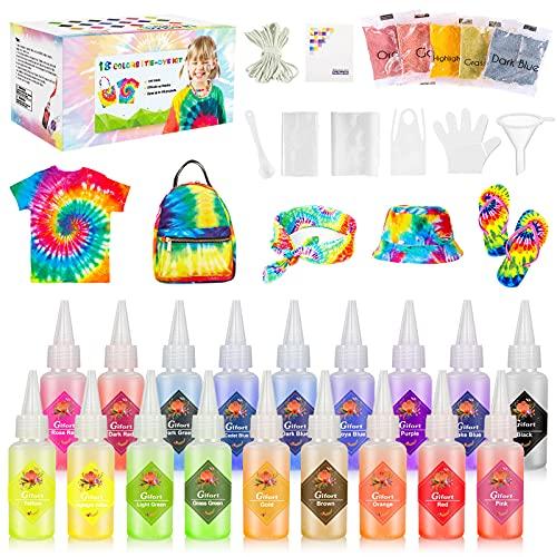 Gifort Tie Dye Kit, Textiles de Tela Colores Vibrantes Pinturas Tinte Ropa Graffiti para Proyectos...
