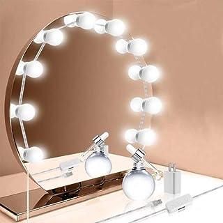 メイクアップライト LED女優ミラーライト ハリウッドライト ドレッサーライト 簡単にDIY 化粧ライト 浴室 洗面 化粧鏡ライト 柔らかい 調光可能 装飾 化粧 撮影 (USBタイプ)