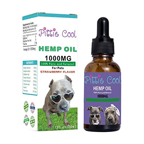 Pittie Cool Hemp Oil for Pets  Strawberry Flavor  1000MG  Natural  Hips & Joints  Calming  Anxiety