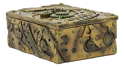 "Ebros Steampunk Mechanical Gears Clockwork Vintage Design Jewelry Box Figurine 5""L Science Fiction Steampunk Trinket Box 5"