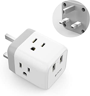 UK Ireland Hong Kong Power Adapter, TROND 5 in 1 UK to US Travel Plug Adapter with 2 USB Ports and 3 American Sockets, for England Scotland Singapore Malaysia (Type G), White