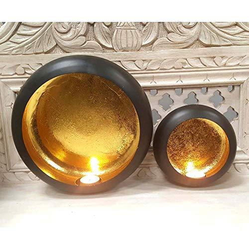 Casa Moro Orientalische Wand-Windlichter 2er Set Dinesh aus Metall innen Gold / außen Schwarz | 2 Wand-Kerzenhalter rund zum Aufhängen | Marokkanische Hängewindlichter | WLC1680