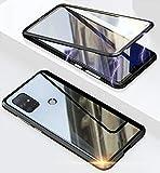 Hülle für Samsung Galaxy M31 Hülle,Magnetische Adsorption 360 Grad Full Body Handyhülle Vorne hinten Gehärtetes Glas Schutzhülle Dünn Cover,Schwarz
