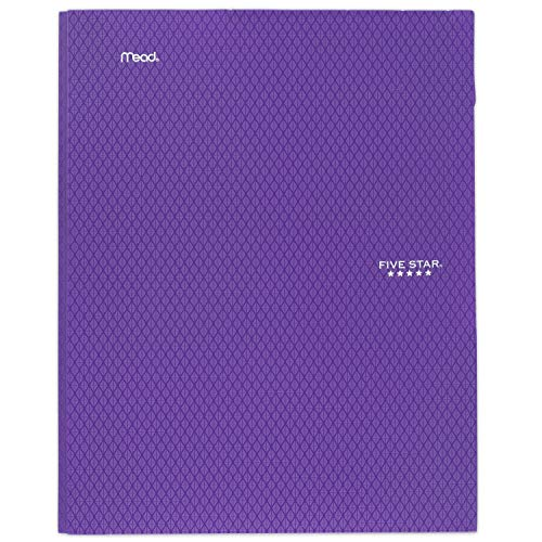 Five Star 2-Pocket Folder with Prong Fasteners, Stay-Put Folder, Folders with Pockets, Purple (38750)